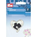 Motif brodé adhesif/thermocollant mariage coeur - 17