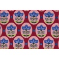 Cotton jersey flower medallion berry - 22