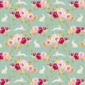 Tissu tilda 110 cm rabbit & roses teal 5 mètres - 26