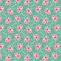 Tissu tilda 110 cm x 5 m clown flower teal - 26