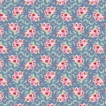 Tissu tilda 110 cm x 5 m clown flower blue - 26