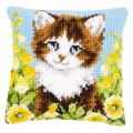 Coussin au point de croix chat & fleurs jaunes - 4