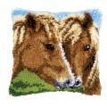 Coussin au point noué chevaux - 4
