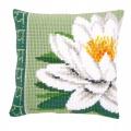 Coussin au point de croix fleur lotus blanc - 4