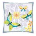Coussin au point de croix papillons & fleurs - 4