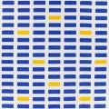 Toile motif bloc 100%cotl110cm-blanc-marinejaune - 468