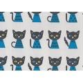 Tissu kiyohara chat 85% coton 15%lin 108cm gris - 468