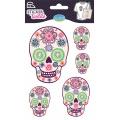 Sticker textile aladine tete de mort fleurie - 470