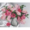 Roses et lilas sur aïda imprimé - 64