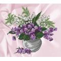Muguet et violettes sur aïda imprimé - 64