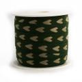 Ruban vert lin coton cœur écru 10 mm - 77