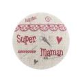 """6 Boutons """"super maman"""" fond naturel - 77"""