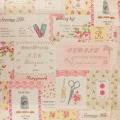 Tissu 80% coton 20% lin motif étiquet Yuwa 6m - 82