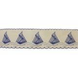 Galon 13,5 cm bateau bleu fond écru - 128