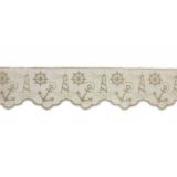 Bande cheminée lin blanc 8 cm thème marin écru - 128