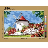 Planche de 2 canevas antique 30/40 Moulin - 150