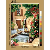 Planche de 2 canevas antique 30/40 fontaine - 150
