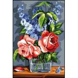 Planche de 2 canevas 30/40 de rose et de bleu - 150