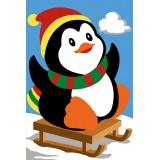 Planche de 2 canevas antique 30/40 pingouin luge - 150