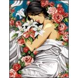 Canevas 60/80 antique fleur et drape - 150