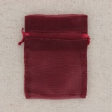 10 poches organza 10 x 7 cm lie de vin