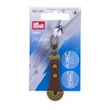 Tirette fashion-zipper cuir/métal brun 1pce - 17