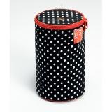 Distributeur de laine polka noir blc Ø14,5x21,5cm - 17