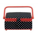 Boîte à couture rectangulaire polka noir / blanc - 17