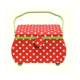 Boîte à couture polka rouge / blanc - 17