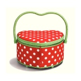 Boîte à couture polka rouge / blanc coeur - 17