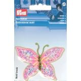 Motif brodé papillon fuchsia fluorescent - 17