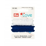 Prym love elastique à volants 16mm bleu/blanc 2m - 17
