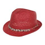 Chapeau paille boucle rouge t55 - 171
