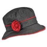 Chapeau huilé pluie fleur - noir/rouge t. 57 - 171