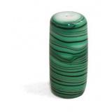 Perle tube vert verre veiné - 21