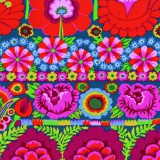 Tissu Kaffe Fassett embroid flower border-red - 22