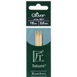 Aiguille tricot 2 pt bambou 16cm 2.00mm - 256