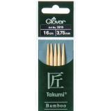 Aiguille tricot 2 pt bambou 16cm 3.75mm - 256