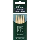 Aiguille tricot 2 pt bambou 16cm 5.50mm - 256