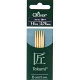 Aiguille tricot 2 pt bambou 16cm 2.75mm- - 256