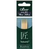 Aiguille tricot 2 pt bambou 16cm 3.00mm -unité- - 256