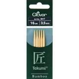 Aiguille tricot 2 pt bambou 16cm 3.50mm- - 256