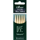 Aiguille tricot 2 pt bambou 16cm 6.50mm- - 256