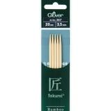 Aiguille tricot 2 pt bambou 20cm 3.50mm- - 256