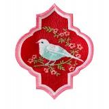 Appliqué oriental bird red /1 pc - 26