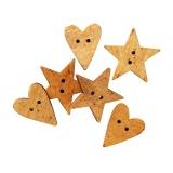 Bouton bois Tilda étoile et cœur - 26