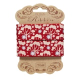 Ruban Tilda 25 mm wild garden red - 26