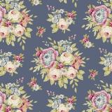 Tissu Tilda 50x55 cm garden flowers dark blue - 26