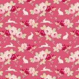 Tissu tilda 110 cm rabbit & roses pink - 1 mètre  - 26