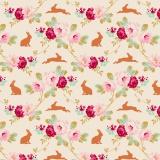 Tissu tilda 110 cm rabbit & roses linen - 1 mètre  - 26